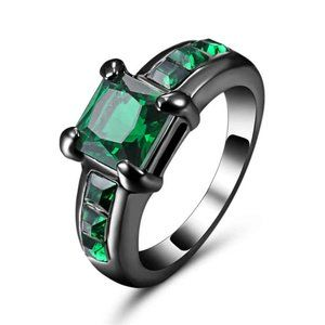 Luxury 10kt black Gold Filled Green Emerald Ring 7
